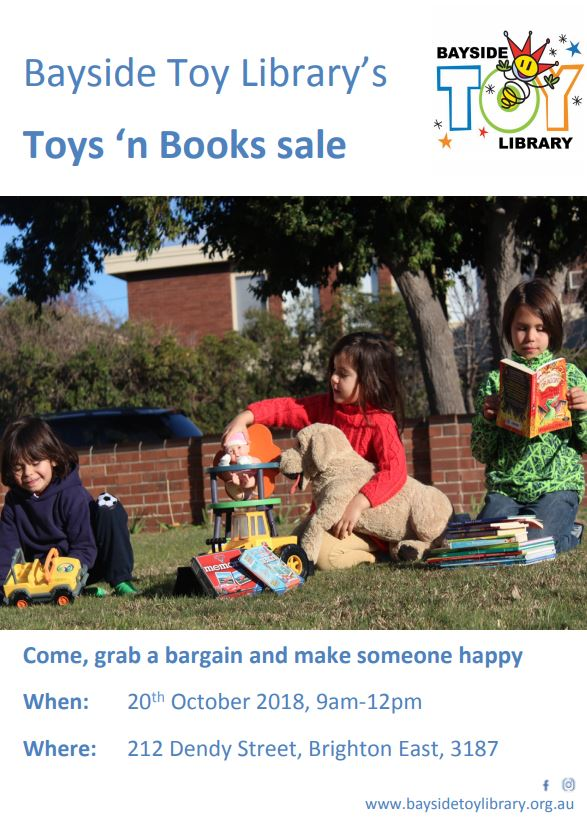 Toys 'n Book Sale – October 20th between 9am – 12pm